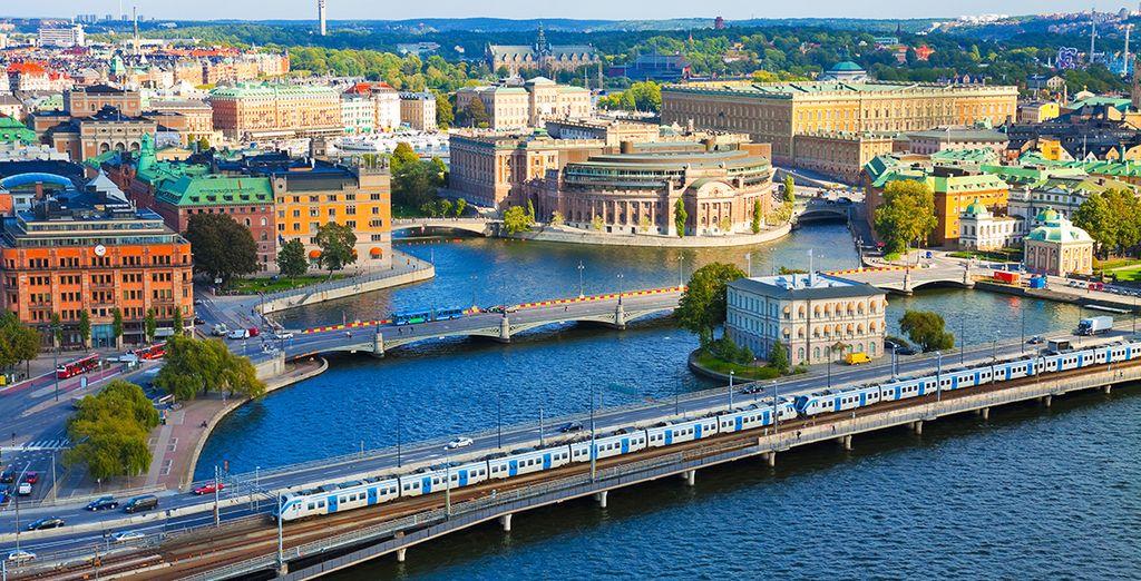 Fotografia della città di Oslo e dei suoi edifici colorati, Norvegia