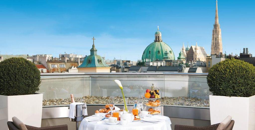 e godervi spettacolari panorami su Vienna dalla terrrazza