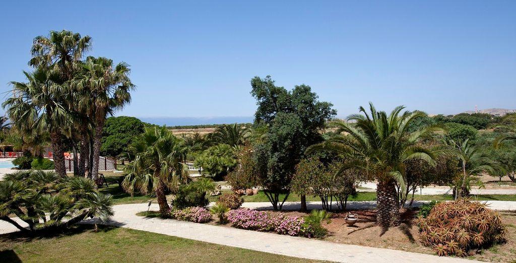 Concedetevi una passeggiata rilassante tra le palme e gli aranceti del parco