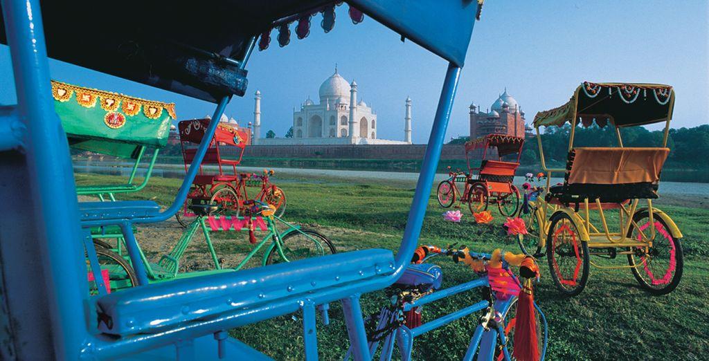 I risciò costellano i dintorni del Taj Mahal