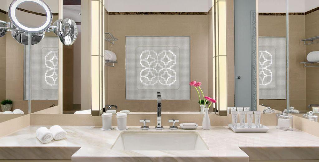 Come gli eleganti bagni, curati nel dettaglio