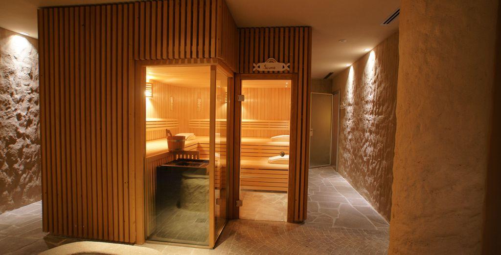 Approfittate della calda sauna finlandese