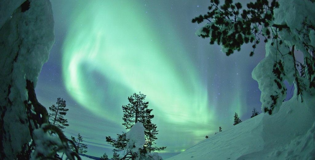 Fotografia dell'aurora boreale in Finlandia, nel cuore della Lapponia