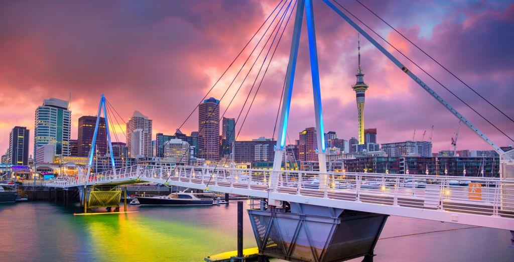 Fotografia della città di Auckland e del tramonto, Nuova Zelanda