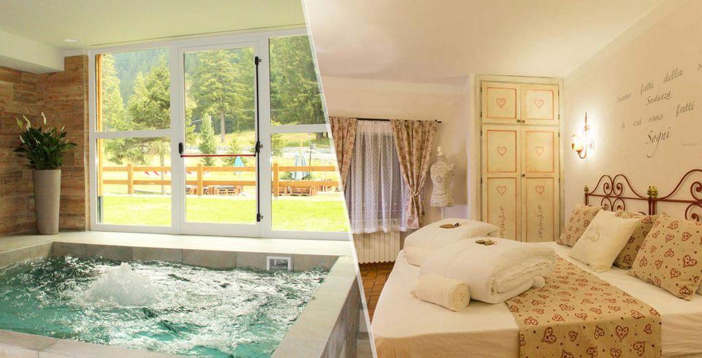 Hotel di alta gamma con tutti i comfort delle Alpi italiane, con letto matrimoniale, spa e zona relax