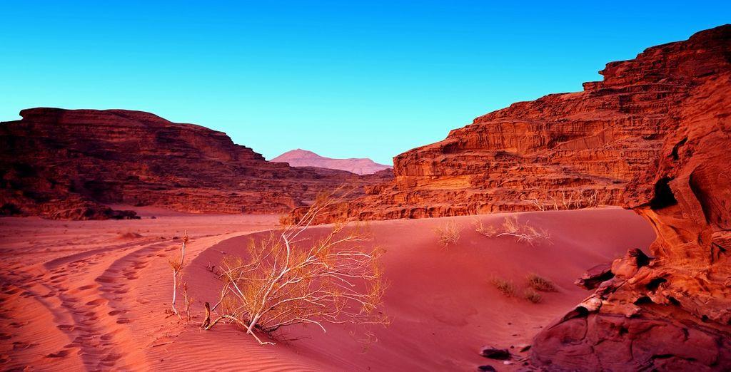 Fotografia del Wadi Rum e del paesaggio del deserto Giordania