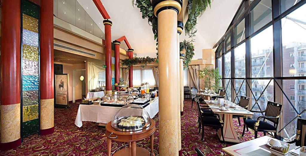 In het restaurant van het hotel