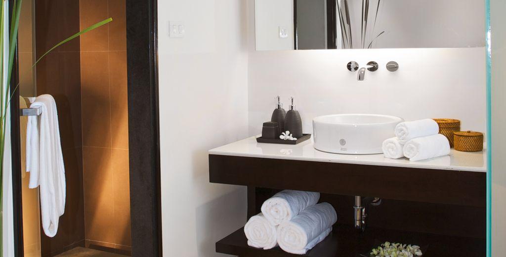 Met badkamer voorzien van alle comfort