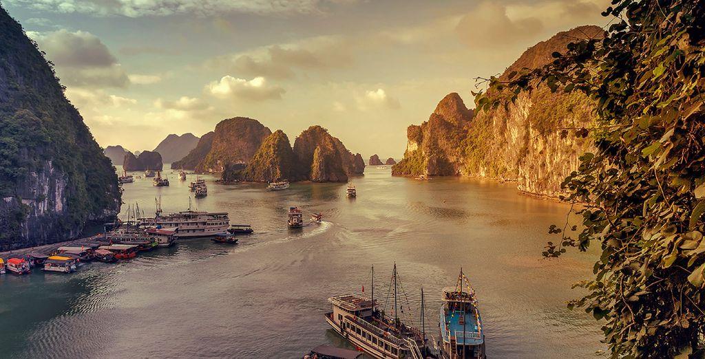 Vervolgens gaat het richting de adembenemende Ha Long Bay