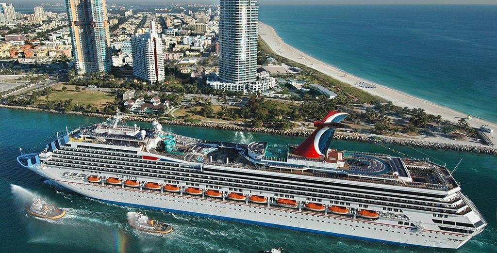 De cruise vertrekt in Miami