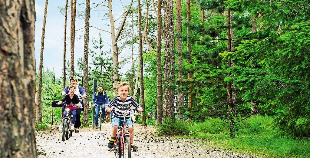 En natuurliefhebbers kunnen het domein verkennen met de fiets