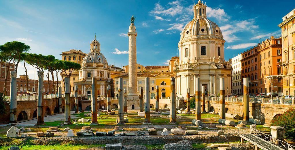 In Rome komt de geschiedenis tot leven met de talrijke monumenten, kerken en architectuur