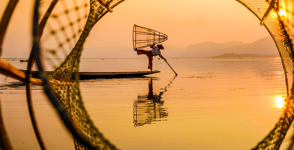 Eindig aan de oevers van het Inlemeer, een van de meest spectaculaire locaties in Myanmar