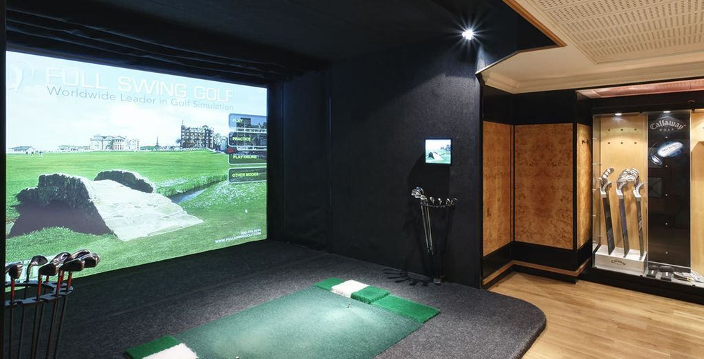 Practice your stoke on the indoor golf simulator