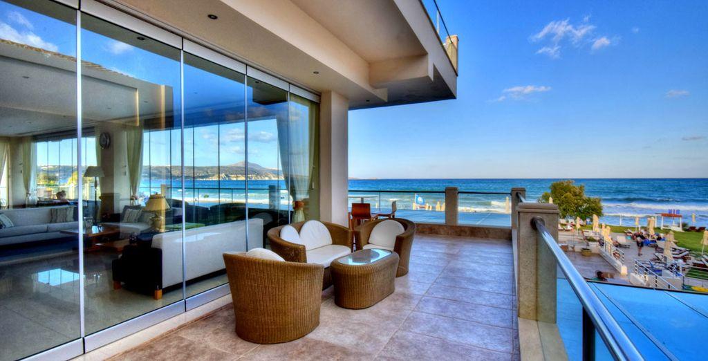 Take in the striking views of the Cretan Sea