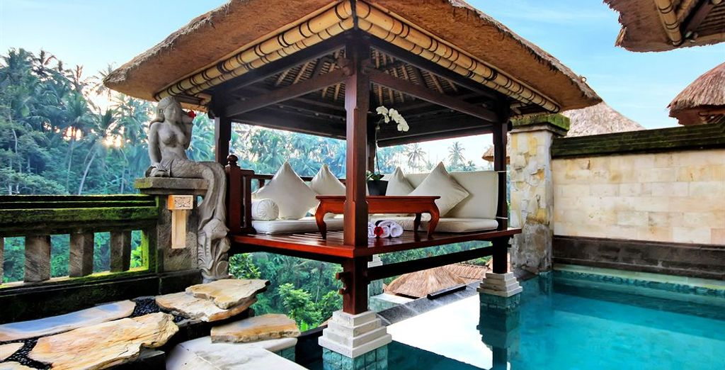 From its Balinese pavilion perched high above the jungle