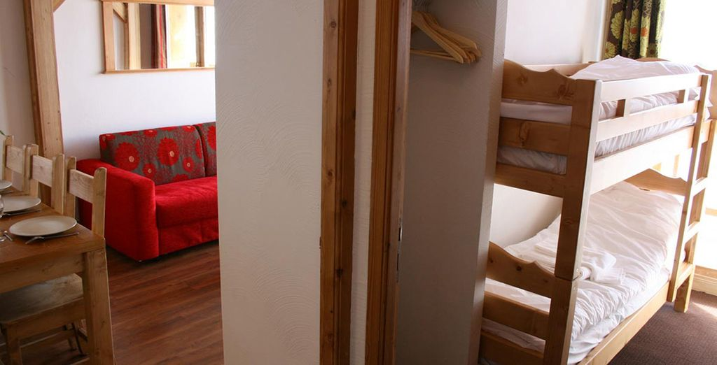 The Chalet des Neiges offers different sized apartments to suit your party's needs