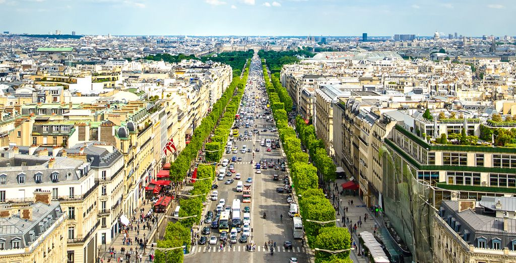 ...The bustling Champs-Elysees...