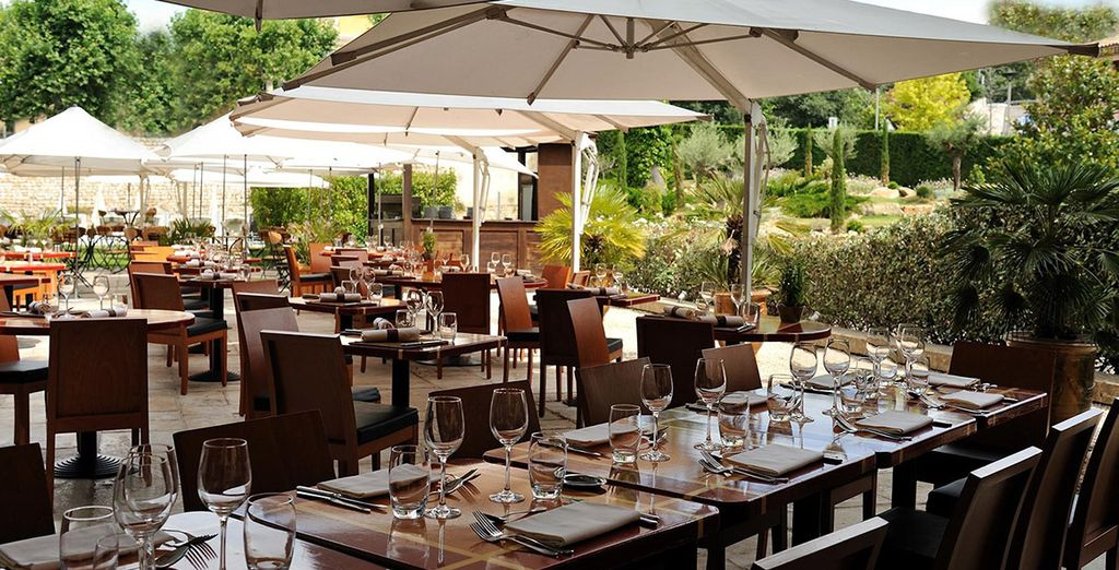 Enjoy tasteful cuisine outdoors when the weather permits