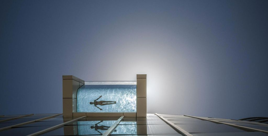 An amazing, unique infinity pool which extends onto a balcony