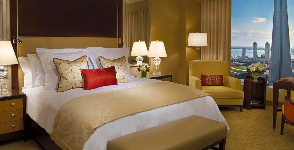 And settle down in your plush deluxe room with a gorgeous view of the lake