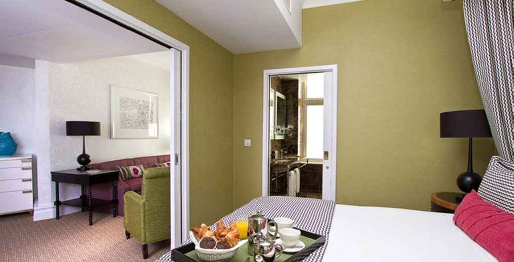 The guestrooms are modern & bright