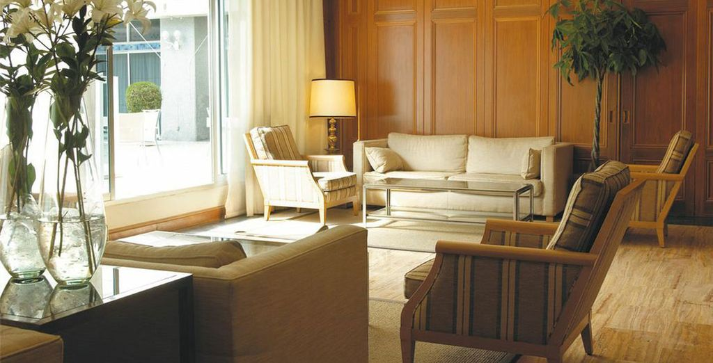Plan your day in the spacious lobby