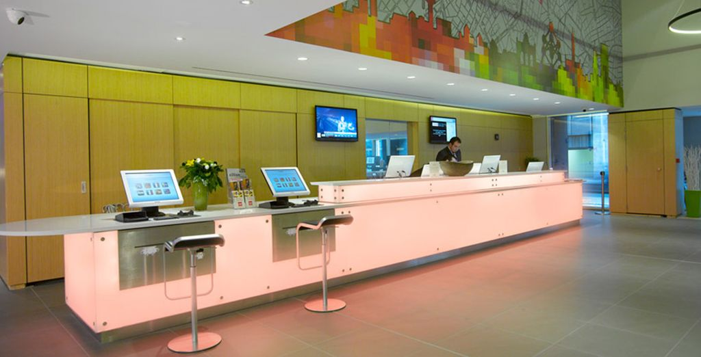 Make your way through the colourful lobby
