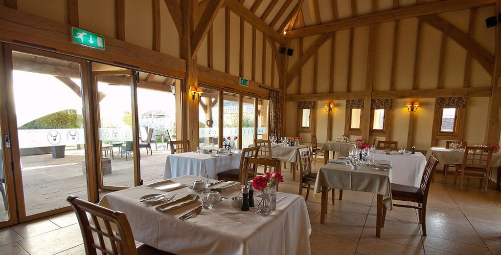 The charming dining room has award winning food