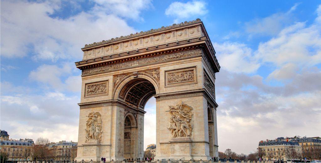 Pass under the magnificent Arche de Triumphe