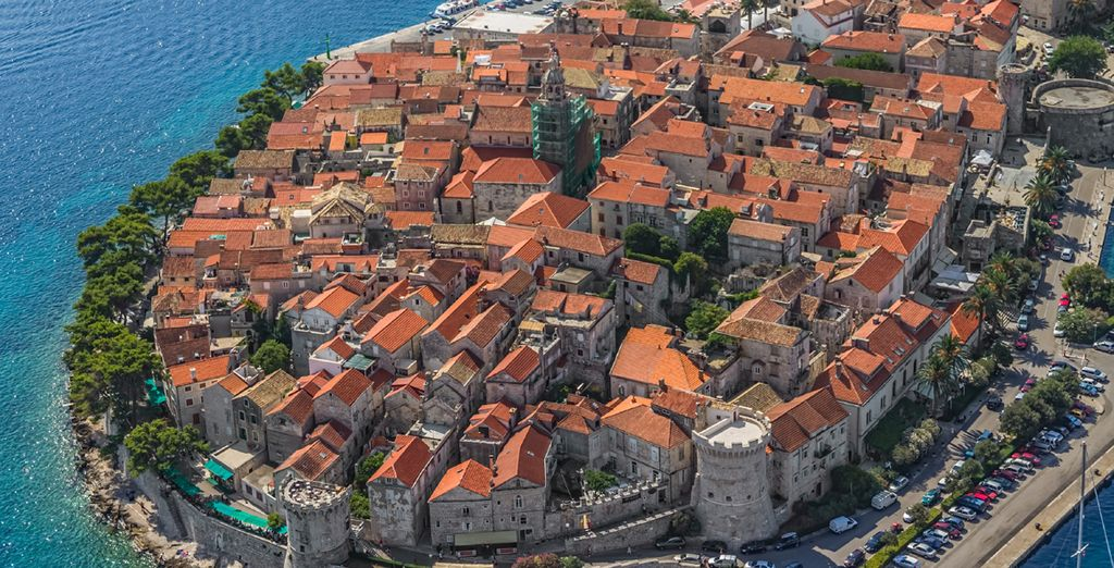 Depart for the island of Korcula and swim in its waters