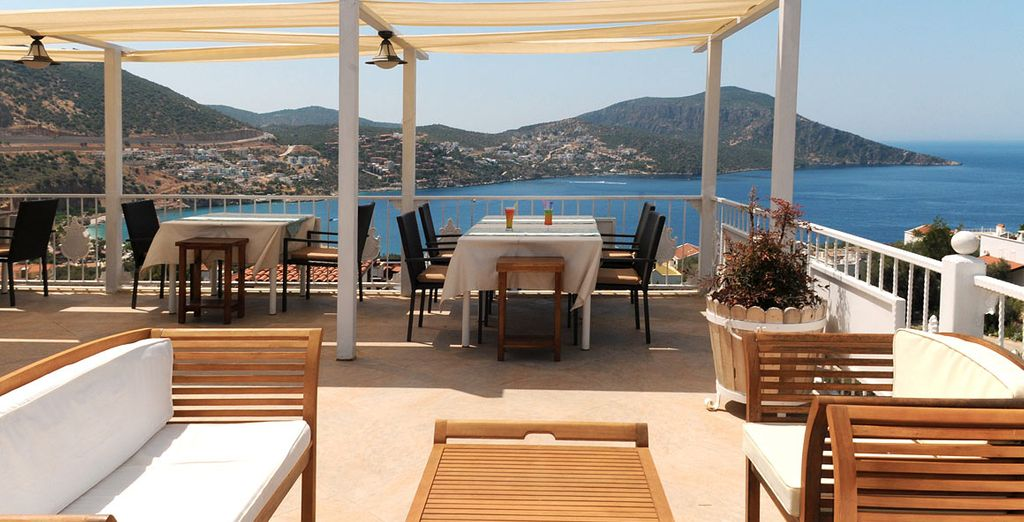 Dine overlooking the Mediterranean during your bed and breakfast stay