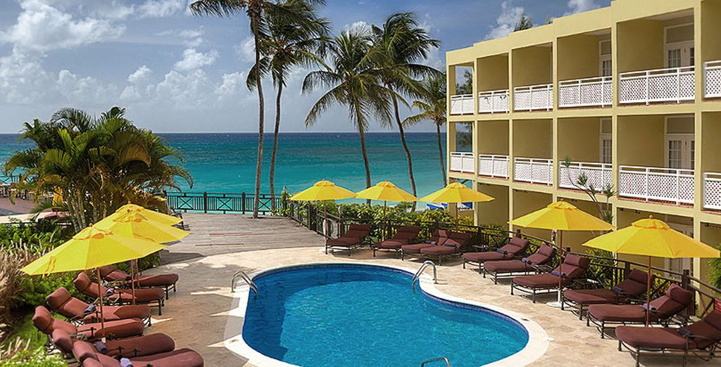 At this wonderful hotel located on the beachfront