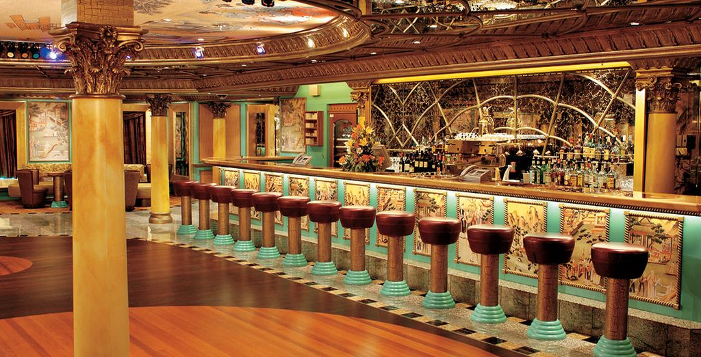 The ship boasts opulent interiors and a variety of restaurants and bars
