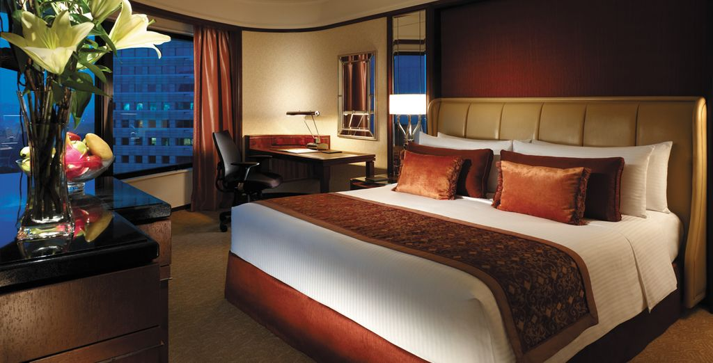 In a spacious Deluxe Room