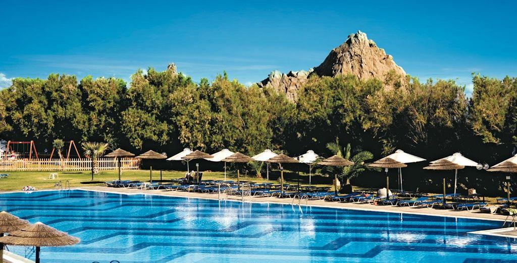 The sunny Neilson Portomyrina Palace Beachclub awaits