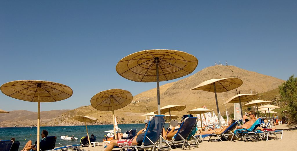 The golden sandy beach is a short stroll away