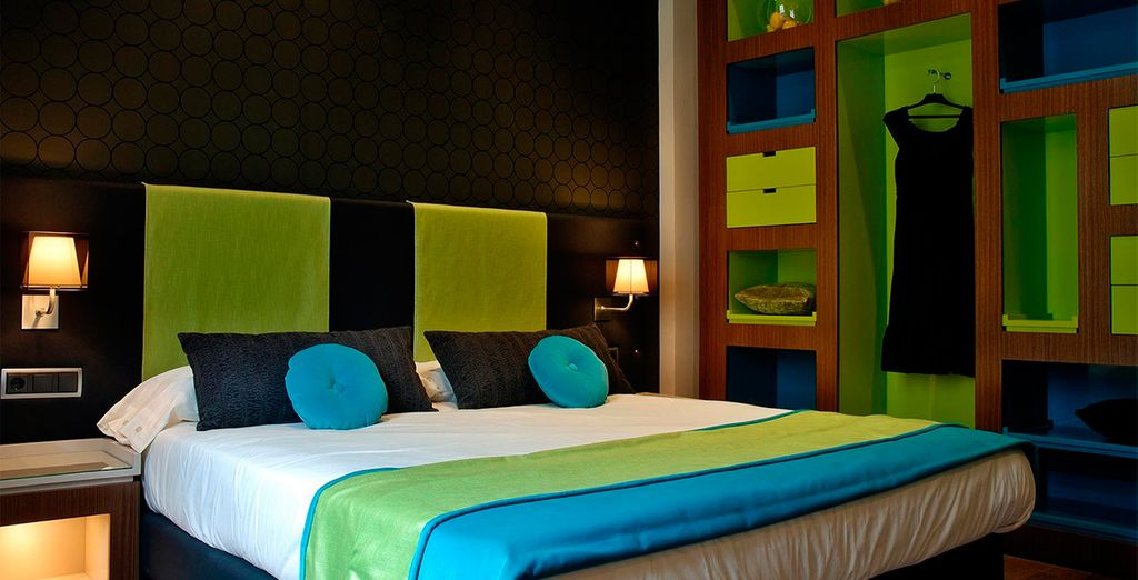 Where your spacious & colourful room awaits
