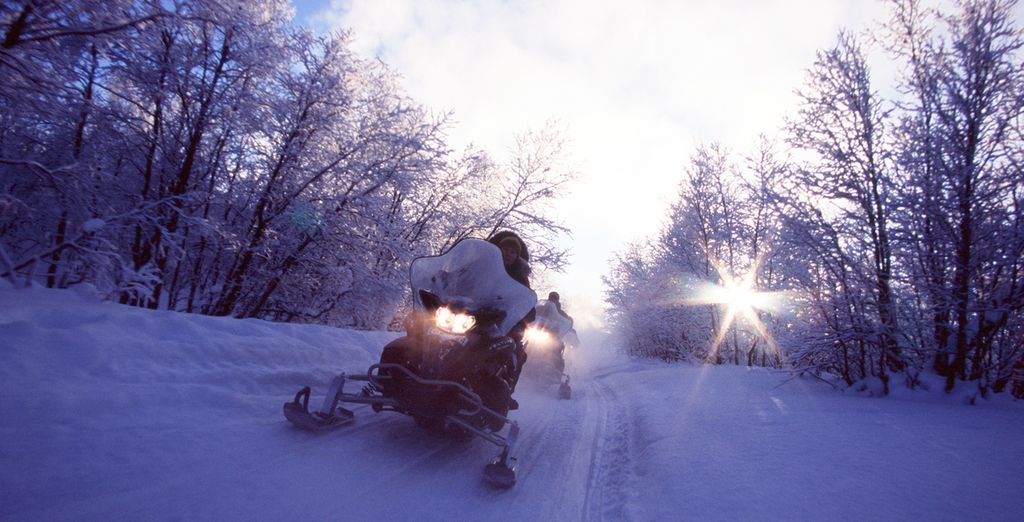 Your 3 night stay includes exciting excursions such as snowmobiling...