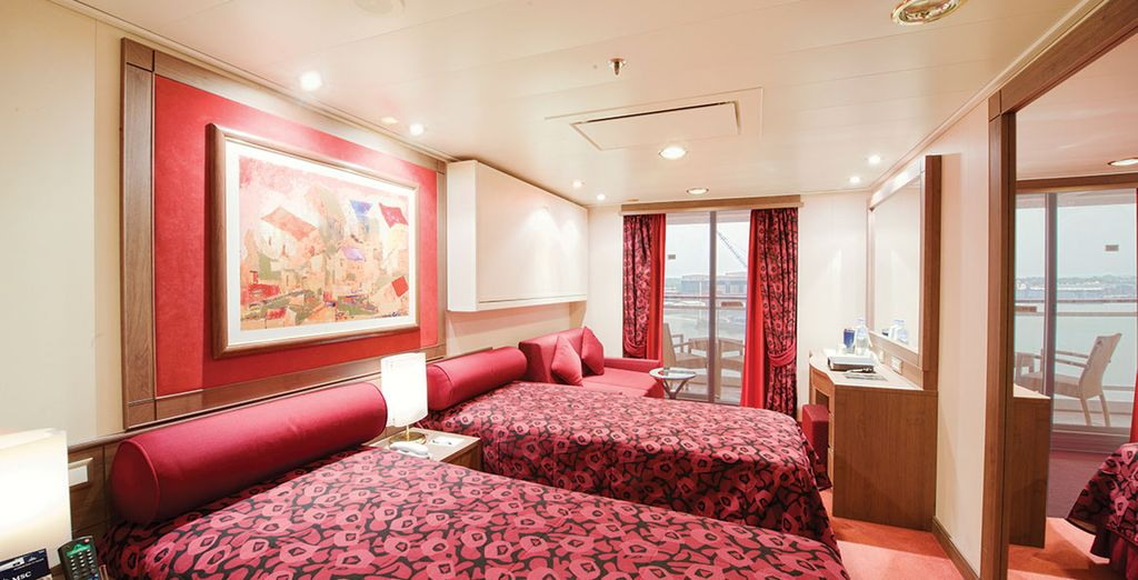 Our members have a choice of spacious cabins (Balcony cabin pictured)