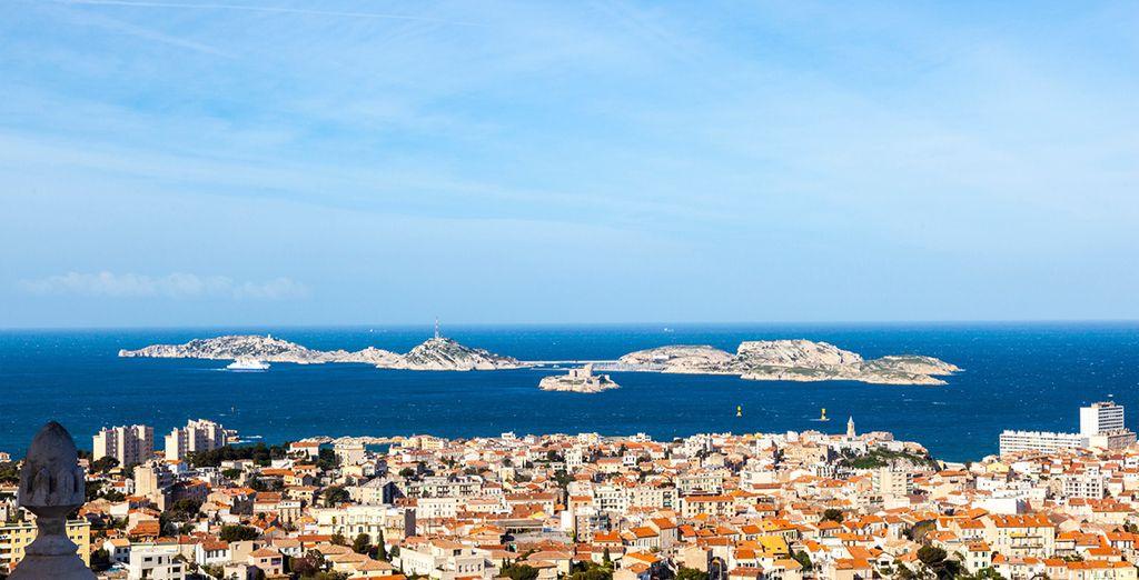 The sun soak terracotta roofs of Marseille