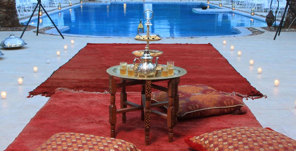 You will be welcomed with refreshing mint tea...