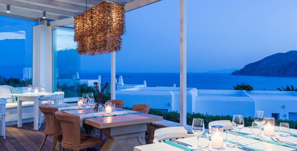 Inside or on the terrace, by romantic candlelight