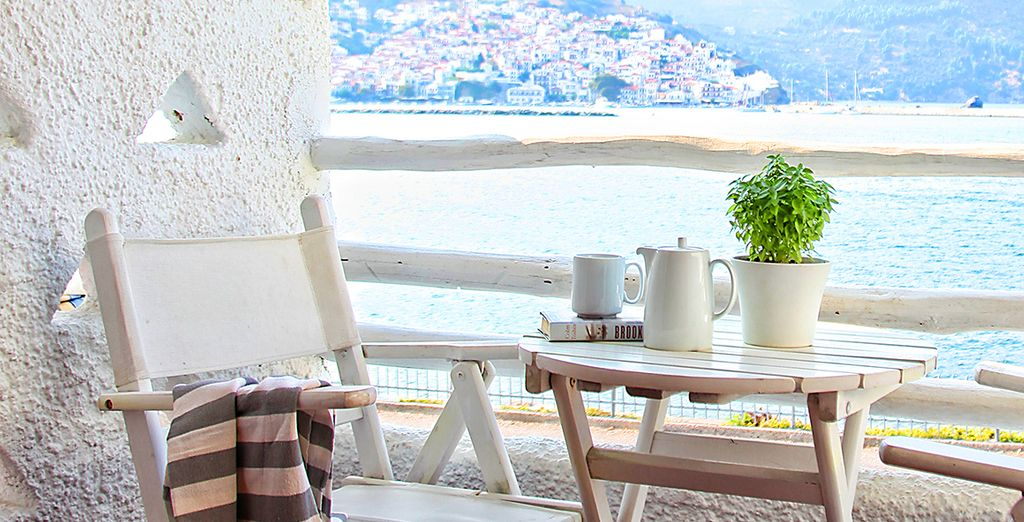 Sip your morning coffee, taking in the views