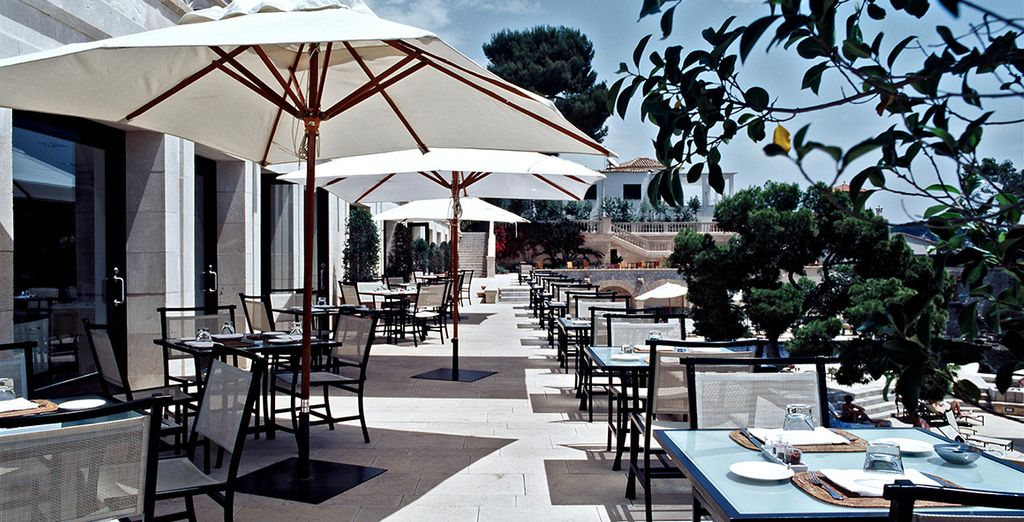 Dine on the terrace to make the most of the weather