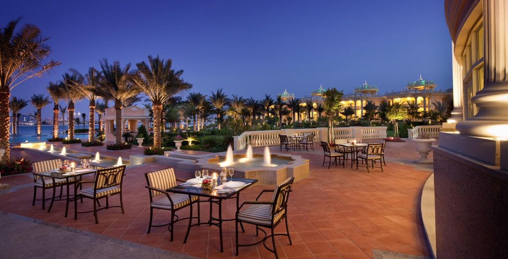 Or on the terrace in the romantic evening atmosphere
