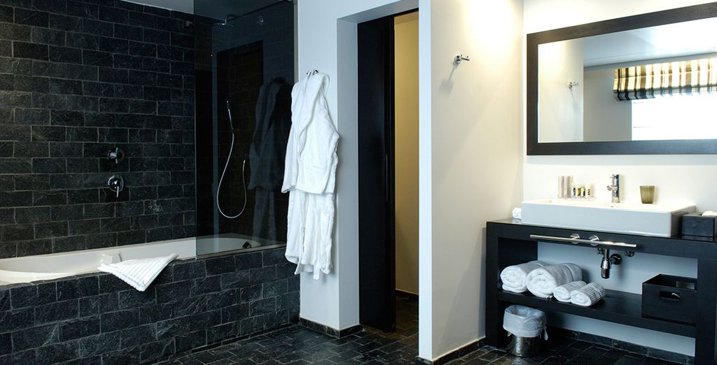 Completely with a luxury bathroom of black stone