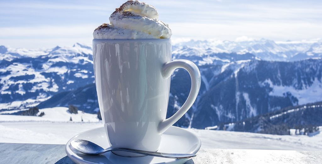 Warm up with a hot chocolate after skiing!
