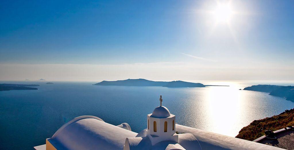 The azure Aegean waters await