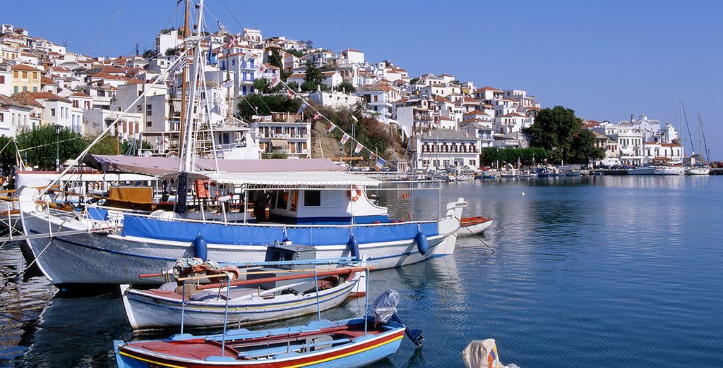 Explore the pretty Skopelos town, or some of the many nearby beaches